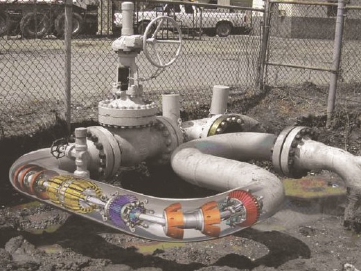 Pipeline inspection tool in curved pipe