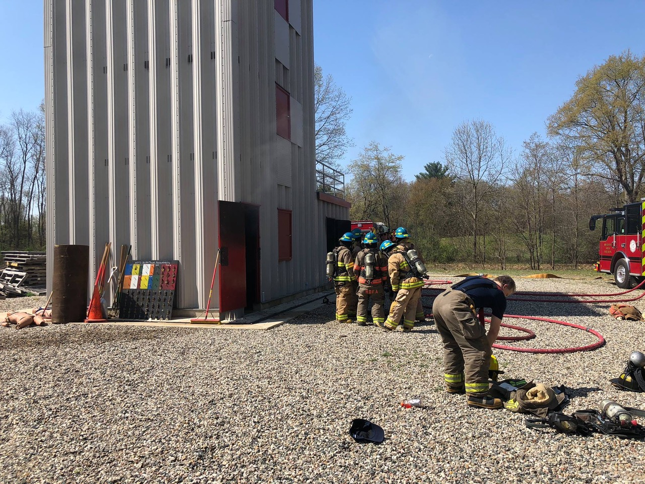 Firefighter training school at abandoned structure