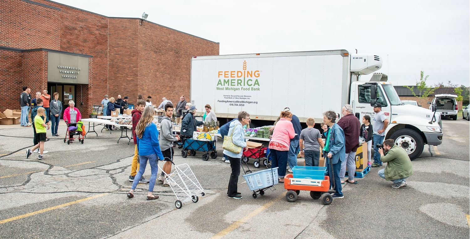 Food bank truck at community center