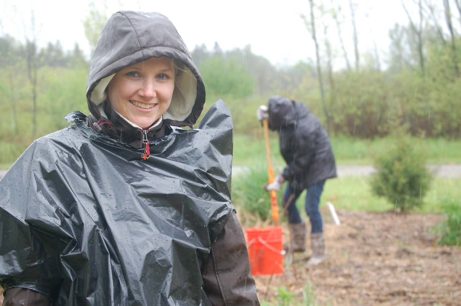 Woman wearing rain coat