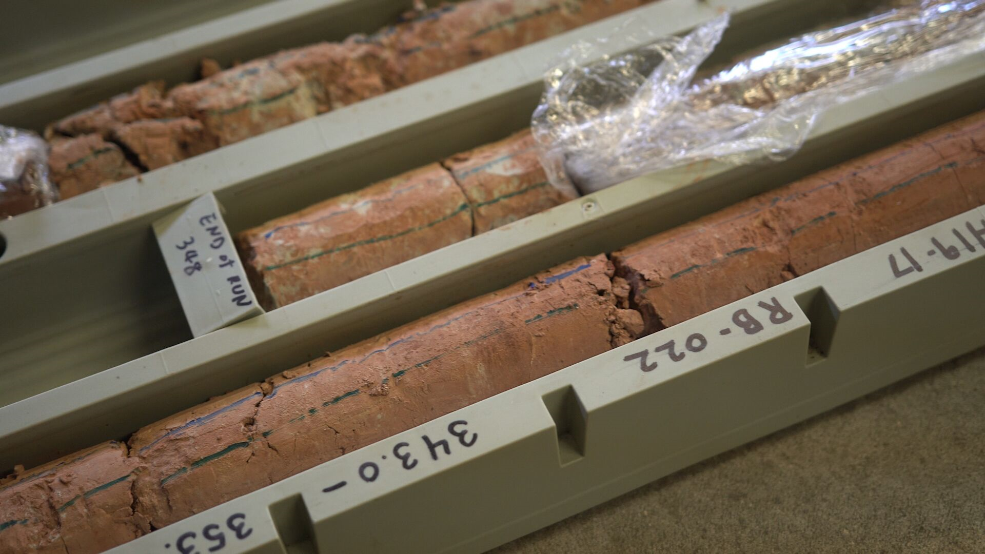 Detailed core samples in box