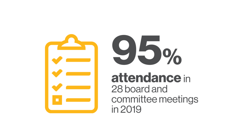 95% attendance in 28 board and committee meetings