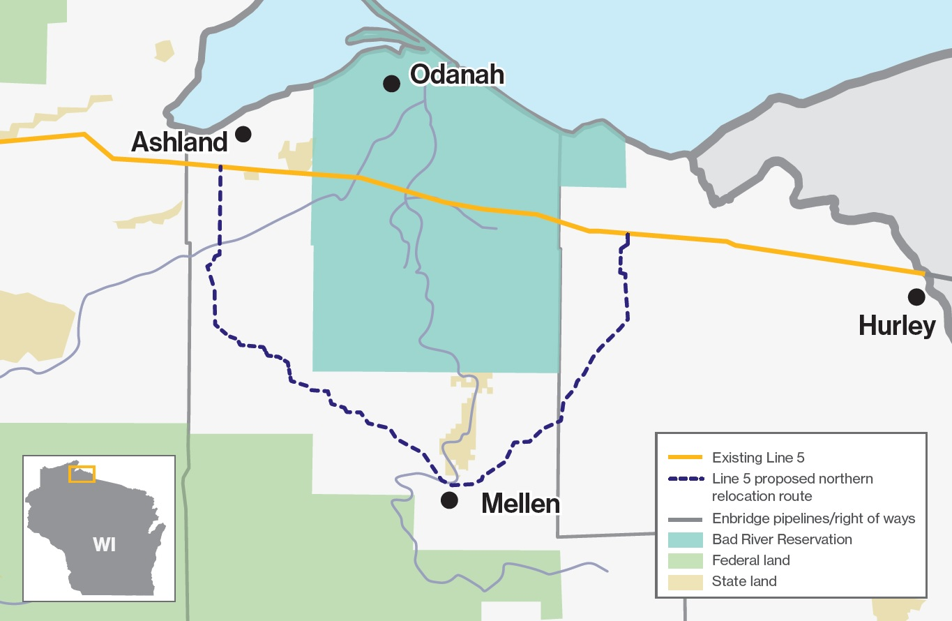 Line 5 potential reroute in Wisconsin
